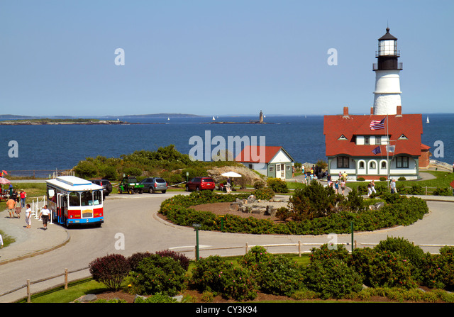 Portland Maine Cape Elizabeth Portland Head Light lighthouse Keeper's Quarters Fort Ft. Williams Park trolley - Stock Image
