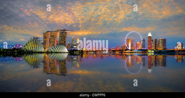 Singapore Skyline Panorama - Stock Image