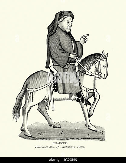 Chaucer on Horseback, from the Canterbury Tales - Stock Image