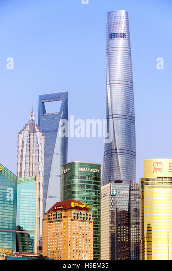 Shanghai New Skyline of Cityscape in the golden sunshine. The Tallest building is Shanghai Tower located in Pudong - Stock Image