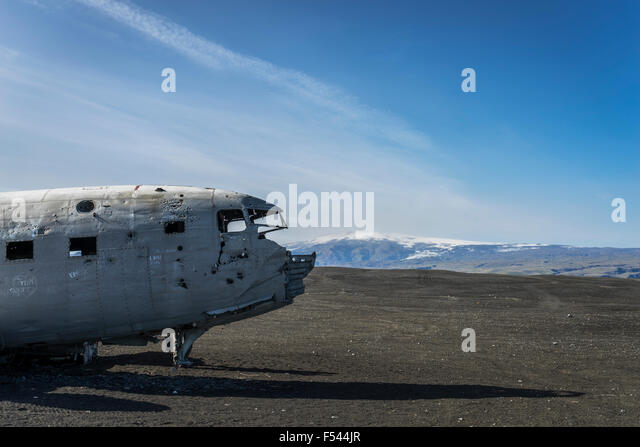 Wreckage from an old airplane crash on Solheimasandur black sand beach, South Coast Iceland - Stock Image