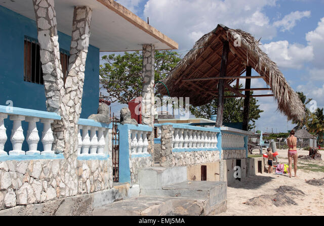 Beach house on the beach at Zapata Peninsula Cuba - Stock Image