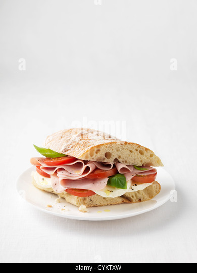 Ham, tomato and cheese sandwich - Stock Image