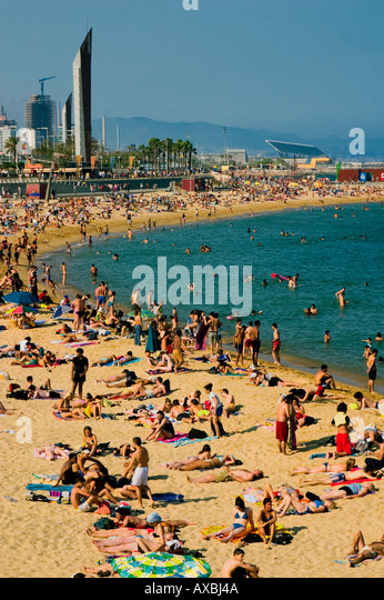 ESP Spain Barcelona beach Platja de la Barceloneta Forum Tele shot - Stock Image