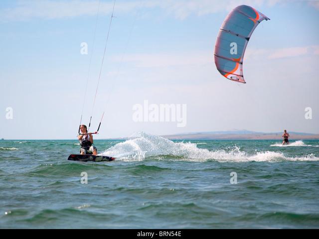 Kitesurfer speeding - Stock Image