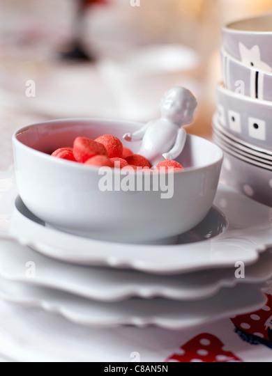 Bowl of Tagada strawberry candies - Stock Image