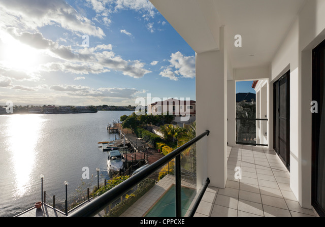 View of luxurious waterfront houses - Stock Image