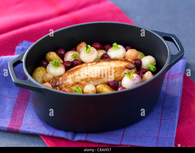 Pork fillet with turnips and cherries - Stock Image