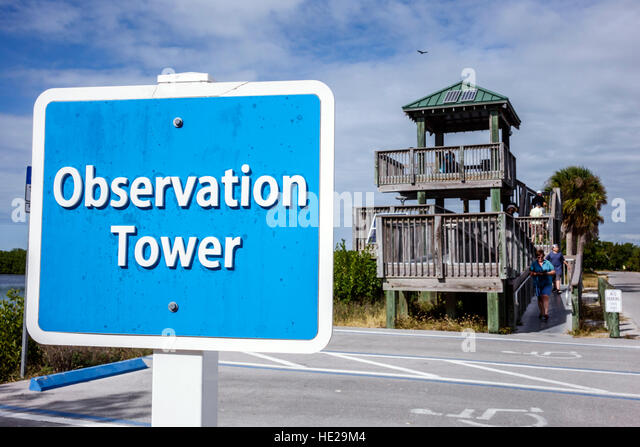 Sanibel Island Florida J. N. J.N. JN Ding Darling National Wildlife Refuge observation tower - Stock Image