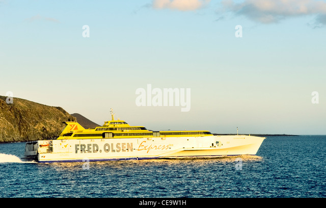 Catamaran car passenger ferry stock photos catamaran car for Oficina fred olsen los cristianos