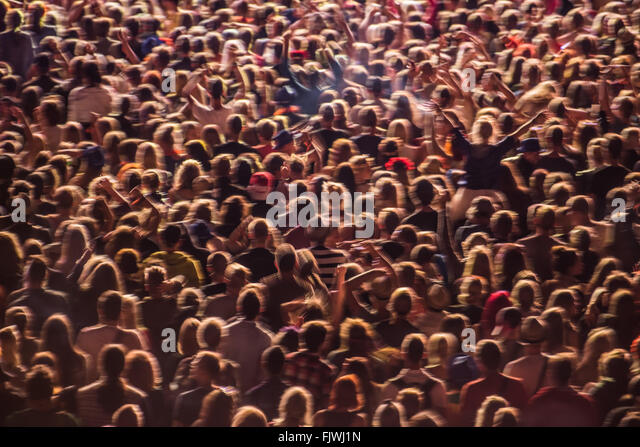 Full Frame Shot Of People At Music Event - Stock Image