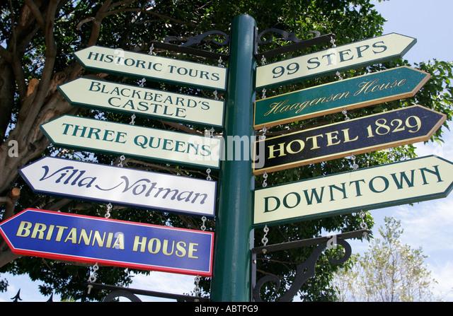St. Thomas USVI Charlotte Amalie Blackbeard's Hill directional signs 99 Steps - Stock Image