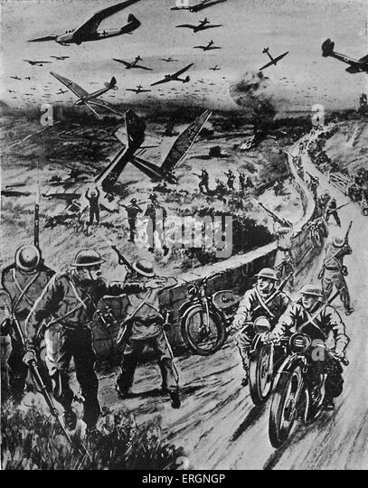 WW2 - Home Guard. Artist's impression of how the home guards would deal with an invasion by glider planes. - Stock Image