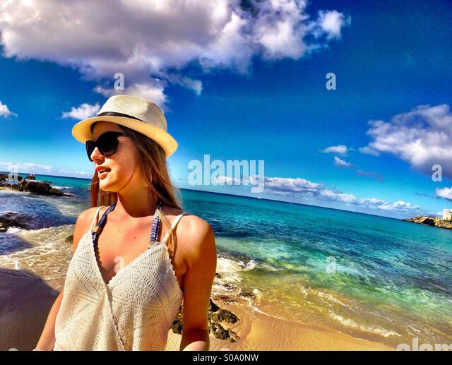 Caribbean lifestyle - fashion, relaxing, beach, shades of blue - Stock Image
