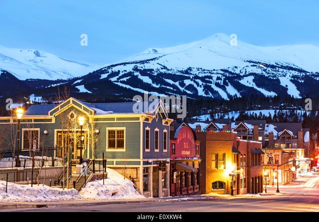 Snow-covered Peak 8, ski area and Downtown Breckenridge, Colorado USA - Stock Image