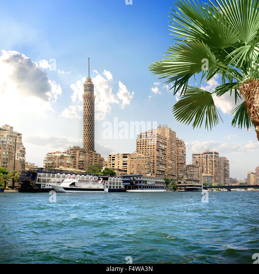 TV tower near Nile in Cairo at sunlight - Stock Image
