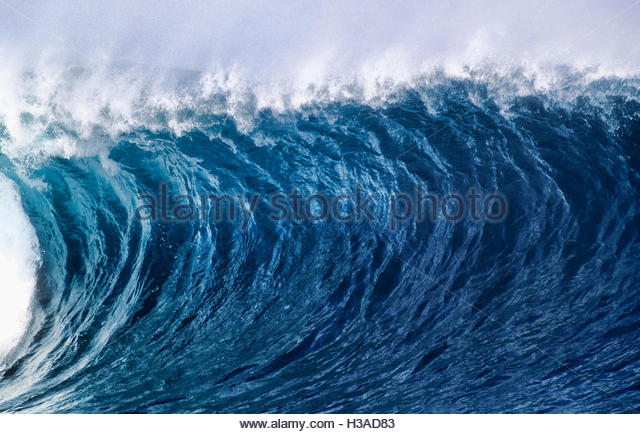 perfect wave breaking - Stock Image