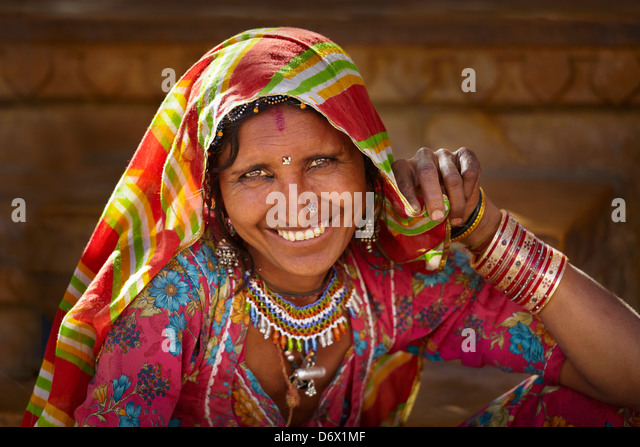 Portrait of smiling india woman, Jaisalmer, Rajasthan State, India - Stock Image