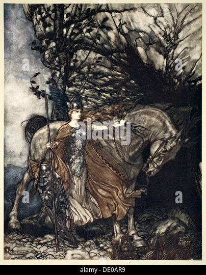 'Brunnhilde with her horse at the mouth of the cave', 1910.  Artist: Arthur Rackham - Stock Image
