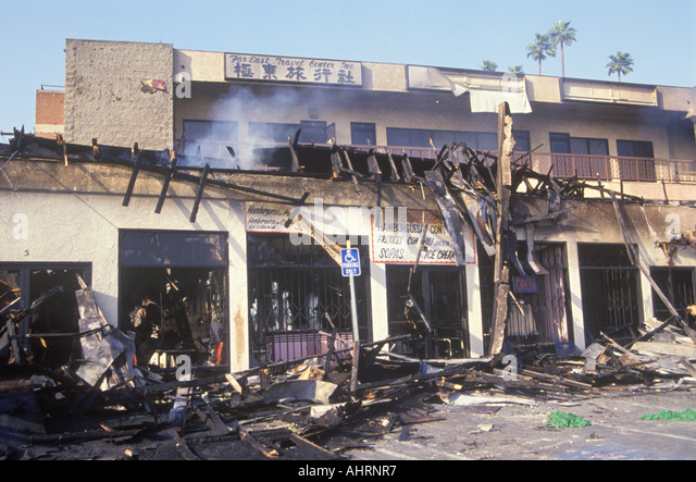 Strip mall burned out during 1992 riots South Central Los Angeles California - Stock Image