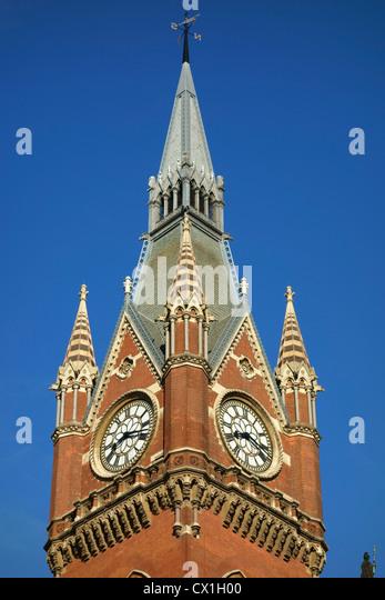 St. Pancras railway station building clock tower, London UK. - Stock Image