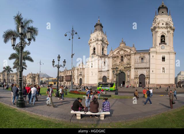 Plaza des Armes in Lima, - Stock Image