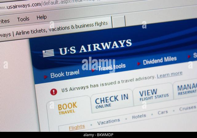 US Airways travel website - Stock-Bilder