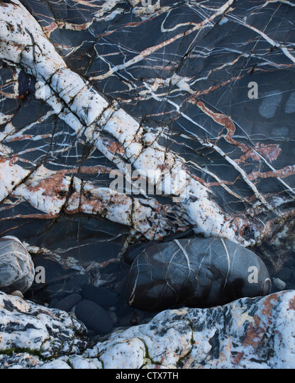 Abstract of rock at Crackington Haven. - Stock Image