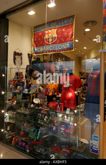 spain Barcelona Port Vell Rambla de Mar Maremagnum shopping center FC Barcelona Fan shop - Stock Image