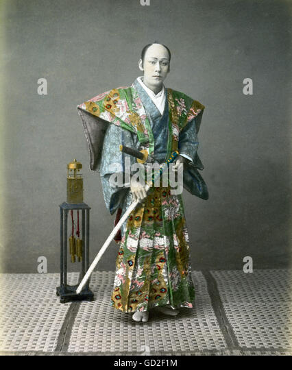 geography / travel, Japan, people, men, samurai, photograph, coloured, late 19th century, - Stock-Bilder