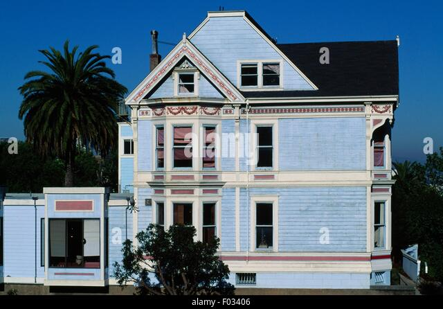 Victorian-style Queen Anne home built in the late 19th century, Alamo Square district, San Francisco, California, - Stock Image