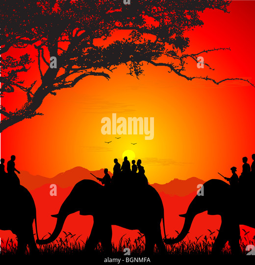 silhouette of wildlife safari on an elephant - Stock Image