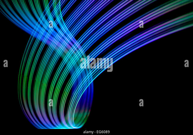Abstract freezelight curves. Made by lights - Stock Image