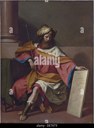 King David. Artist: Guercino (1591-1666) - Stock Image