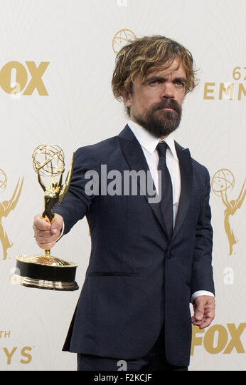 Los Angeles, California, USA. 20th September, 2015. Actor Peter Dinklage poses in the press room at the 67th Annual - Stock Image