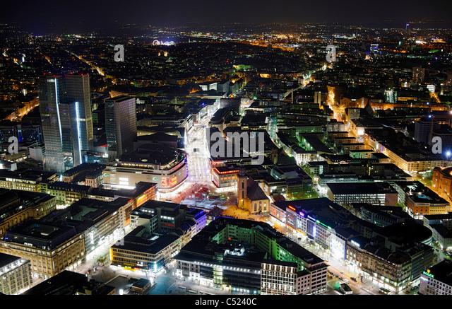 Panoramic view from the Main Tower across Frankfurt am Main at night, colorful lights, illumination, Frankfurt am - Stock Image