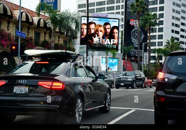 Digital billboards on the Sunset Strip - Stock Image