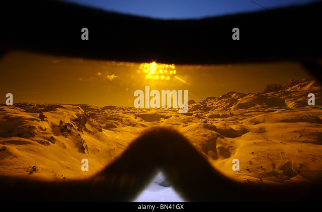 Looking through ski goggles, Krippenbrunn, Austria - Stock Image