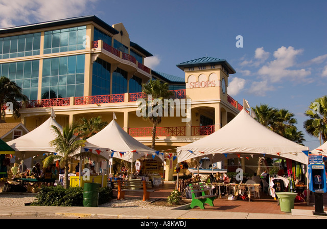 Grand Cayman George Town modern shopping center souvenirs - Stock Image
