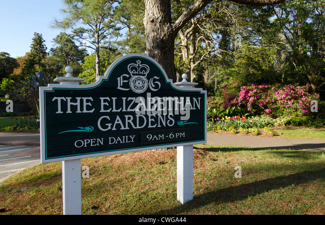 Elizabethan Gardens sign tourist attraction at Manteo, North Carolina - Stock Image