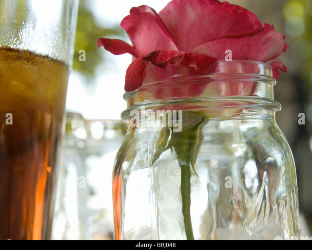 A flower in a glass jar is set next to a pitcher of iced tea on a picnic in a park. - Stock Image