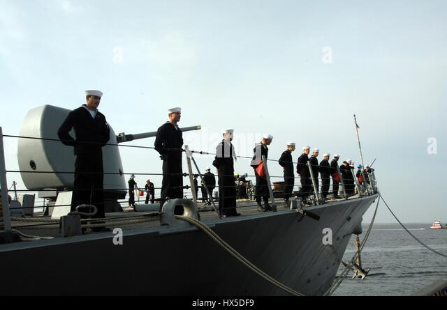 Sailors prepare to get underway aboard the guided-missile destroyer USS Barry, Norfolk, Virginia, 2013. Image courtesy - Stock Image