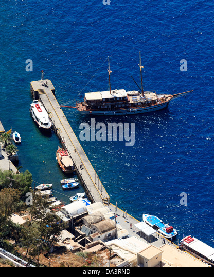 View down on to the port at Fira on the Island of Santorini Greece - Stock Image