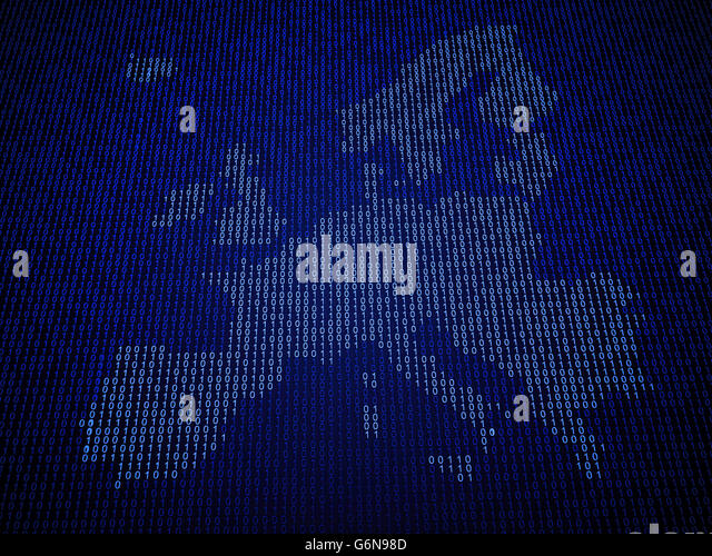 European Union map made out of binary code - Stock-Bilder