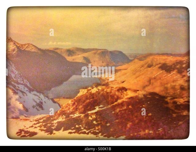 English Lake District - View from Fleetwith Pike over Buttermere and Crummock, England, UK - Stock Image