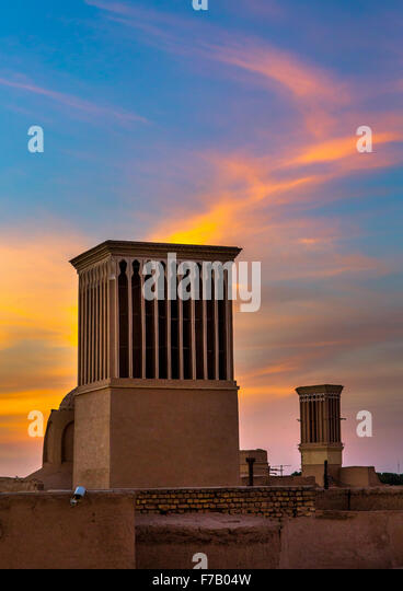 Wind Towers Used As A Natural Cooling System In Iranian Traditional Architecture, Yazd Province, Yazd, Iran - Stock Image