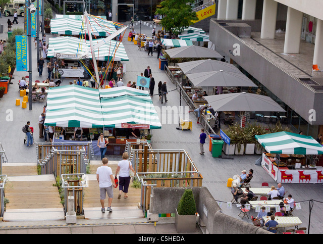 The food market behind the Royal Festival Hall, London; part of the Festival of Britain anniversary celebrations. - Stock Image