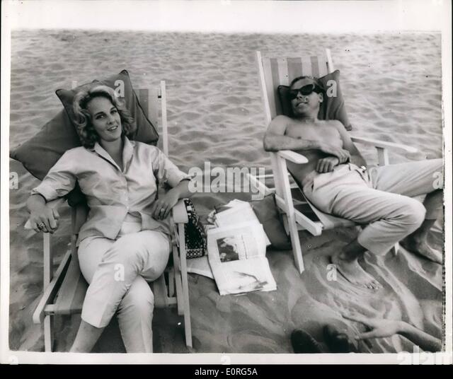 Aug. 08, 1959 - The Twentieth Festival of the Cinema, in Venice. the Heiress and The Director. Many well known personalities - Stock Image