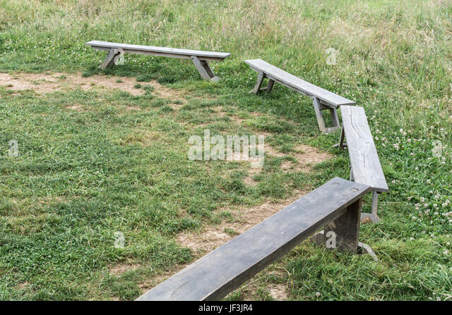 Bench seating at an outdoor environmental education centre in Cornwall, UK. - Stock Image