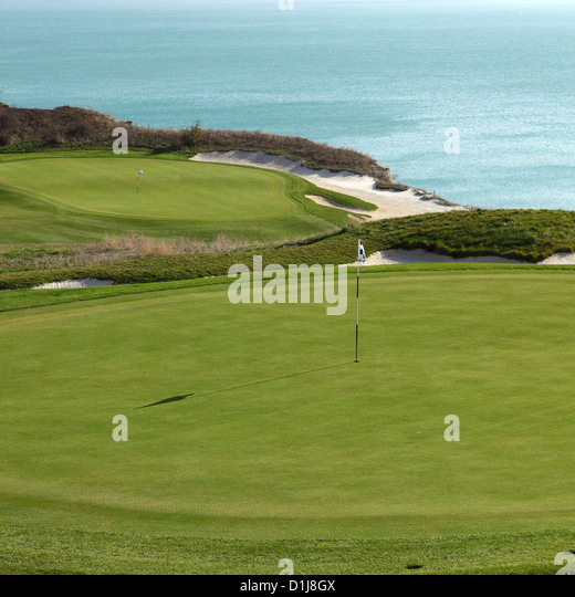 Putting greens at the Thracian Cliffs Golf Course at Varna, Bulgaria. - Stock Image